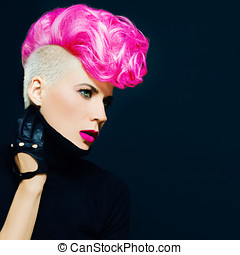 Sensual portrait lady with fashionable haircut colored hair...