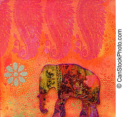 elephant artwork - Collage painting with indien elephant,...