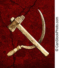 symbol of the USSR hammer and sickle on a red background