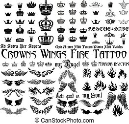 Tattoo set - Set og black and white design elements for...