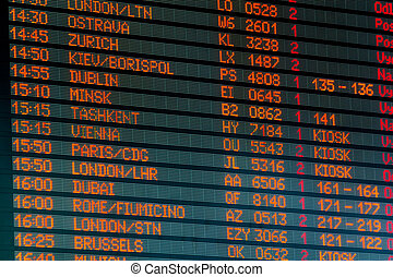 Timetable - Information timetable with flights to Europe at...