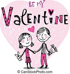 Cute cartoon couple - Vector illustration of a valentines...