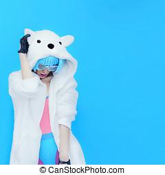 Teddy Bear Girl DJ. Crazy winter party. Club dance style