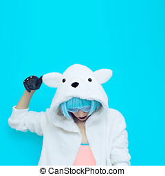 teddy bear girl on a blue background. Crazy winter party....