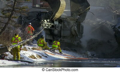 Train Wreck Cleanup - Emergency crew working on the clean up...