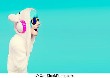 Funny DJ Girls Sweatshirt Teddy Bear in a blue background...