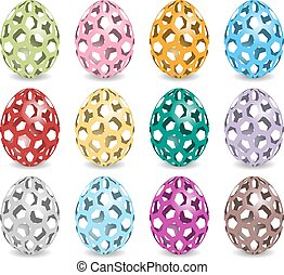 pastel easter eggs with shadow
