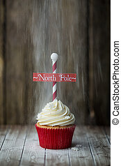 North Pole cupcake - Christmas North Pole cupcake with a...