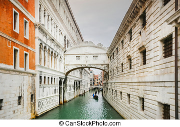Ponte dei Sospiri - A view of a gondola passing under The...