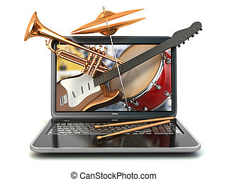 Digital music composer concept. Laptop and musical...