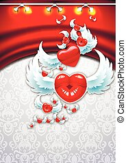 Background Valentines Day - Winged heart on a background of...