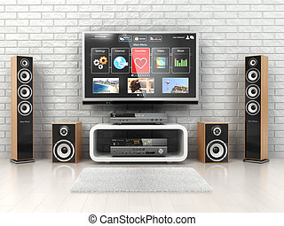 Home cinemar system TV, oudspeakers, player and receiver in...