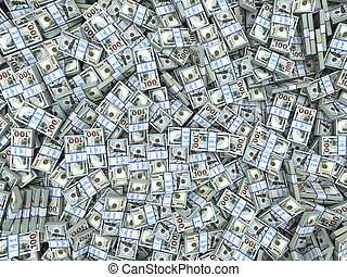 Packs of dollars Background Lots of cash money 3d