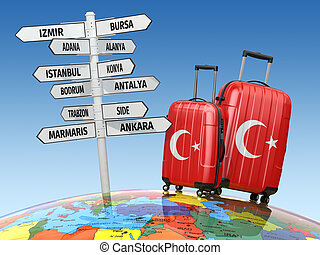 Travel concept. Suitcases and signpost what to visit in...