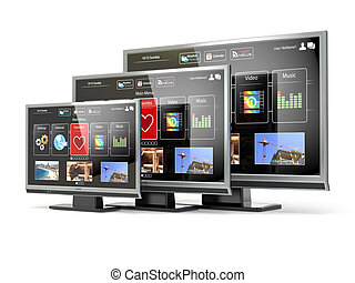 Smart TV flat screen lcd or plasma with web interfaceDigital...