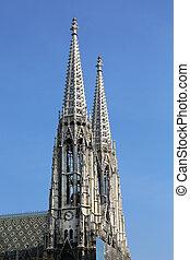 Votive Church Vienna Austria - the belltower of the Votive...