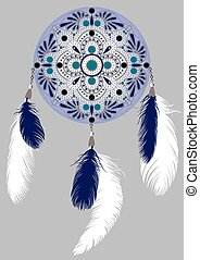 dream catcher - drawing blue Dreamcatcher with feathers on a...