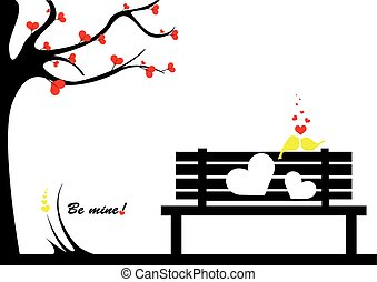 Be mine - Two love birds on a bench and a love tree in a...