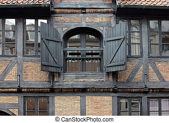 Fachwerk House Windows - A view of the old European...