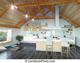 kitchen interior in the attic - modern kitchen interior with...