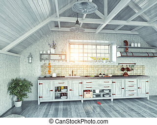 kitchen in the attic - modern kitchen interior with island...