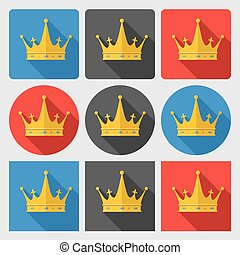 Set icons with gold crown