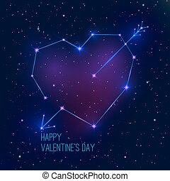 Constellation - Valentine's day abstract background with a...