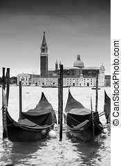 Gondolas in front of Chiesa di San Giorgio Maggiore b&w - A...