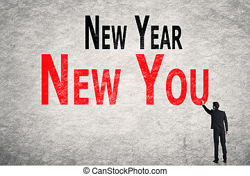write words on wall, New Year New You