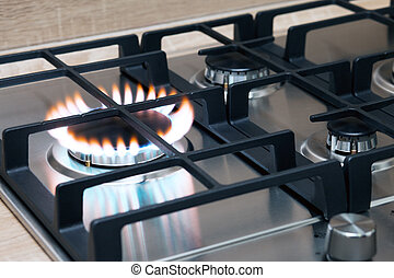 Gas burner flame - Gas burning in the burner of gas oven