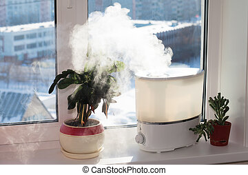 Humidifier on window - Humidifier spreading steam into the...