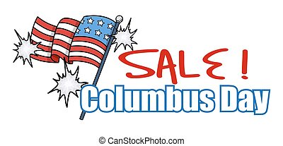 Columbus Day Sale Banner - Festive USA Flag Columbus Day...