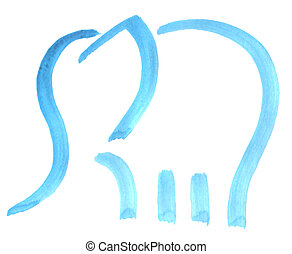 elephant - painted abstract elephant on white background -...