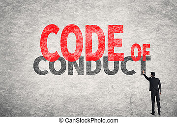 Code Of Conduct - Asian business man write words on wall,...