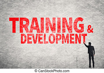 Training and Development - Asian business man write words on...