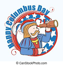 Columbus Man with Telescope Vector - Cartoon Man with...