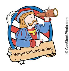 Columbus Day Vector Cartoon - Columbus Day Cartoon Man with...