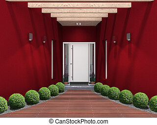 modern entry with white front door - fictitious 3D rendering...