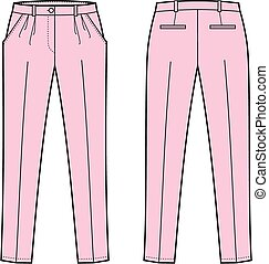 Pants - Vector illustration of women's business pants. Front...