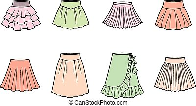 Skirt - Vector illustration of womens summer skirts