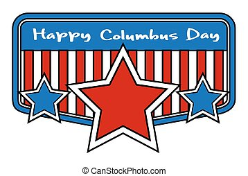 Columbus Day Retro Stars Banner - Retro Columbus Day Stars...