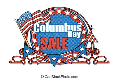 Columbus Day Sale Banner - Retro Frame Columbus Day Sale...