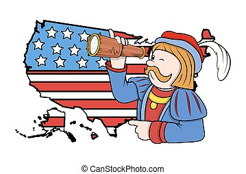 Man with Binocular USA Flag Map