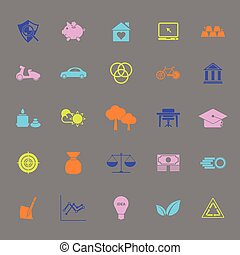 Sufficient economy color icons on gray background, stock...
