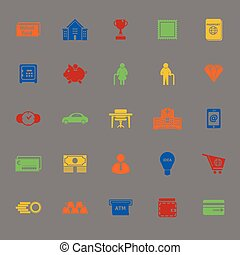 Personal financial color icons on gray background, stock...
