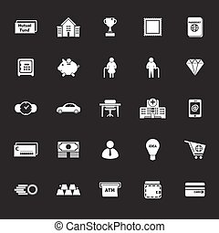Personal financial icons on gray background, stock vector
