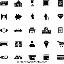 Personal financial icons on white background, stock vector