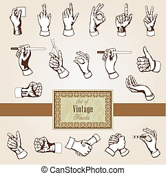 Vector hands - Set of retro design elements - vector hands...