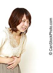 mujer, sufre, De, stomachache%u3000,