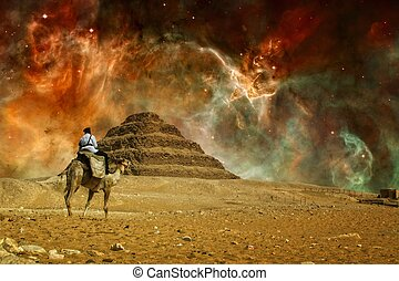 Step pyramid and Carina Nebula Elements of this image...